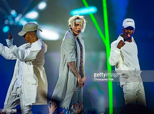 Justin Bieber performs during the 2016 Purpose World Tour at Staples Center on March 20 2016 in Los Angeles California
