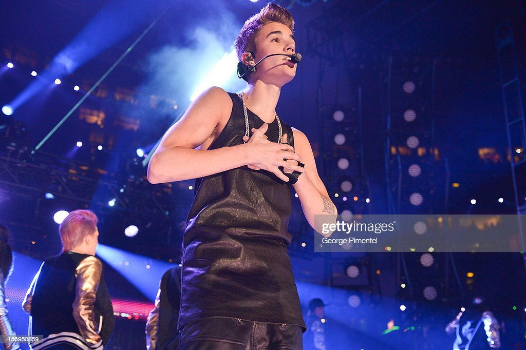 <a gi-track='captionPersonalityLinkClicked' href=/galleries/search?phrase=Justin+Bieber&family=editorial&specificpeople=5780923 ng-click='$event.stopPropagation()'>Justin Bieber</a> performs during the halftime show at the CFL's 100th Grey Cup Championship at the Rogers Centre on November 25, 2012 in Toronto, Canada.
