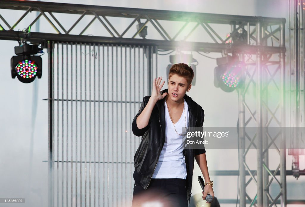 Justin Bieber performs live on the Sunrise program at The Overseas Passenger Terminal on July 18, 2012 in Sydney, Australia.