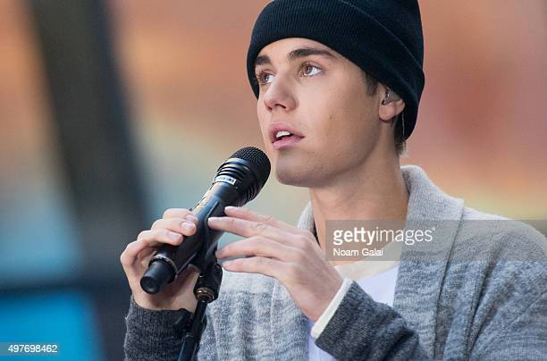 Justin Bieber performs on NBC's 'Today' at NBC's TODAY Show on November 18 2015 in New York