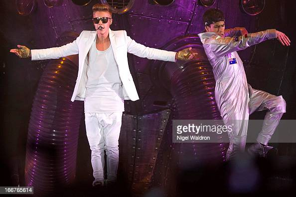 Justin Bieber performs on stage at Telenor Arena during the World Tour Believe 2013 at Telenor Arena on April 16 2013 in Oslo Norway