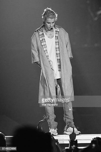 Justin Bieber performs on stage during opening night of the 'Purpose World Tour' at KeyArena on March 9 2016 in Seattle Washington