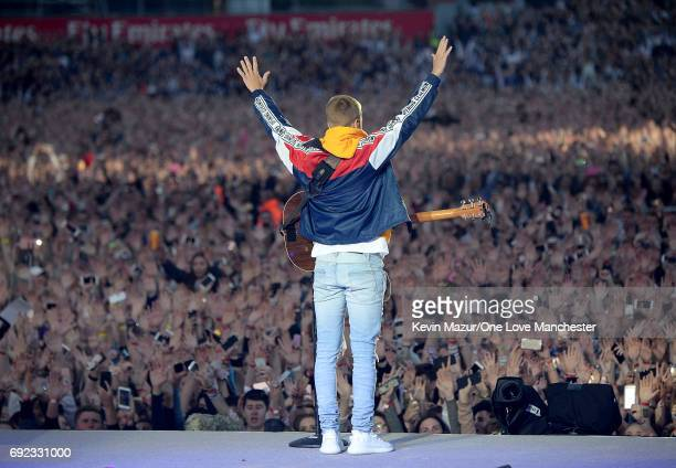 Justin Bieber performs on stage during the One Love Manchester Benefit Concert at Old Trafford Cricket Ground on June 4 2017 in Manchester England