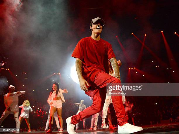 Justin Bieber performs onstage at the MTV EMA's 2015 at Mediolanum Forum on October 25 2015 in Milan Italy