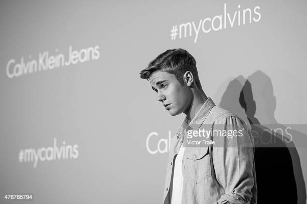 Justin Bieber poses on the red carpet at the Calvin Klein Jeans music event with special appearance from Justin Bieber and performances by Jay Park...