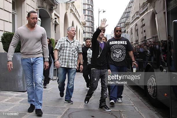 Justin Bieber sighted at Hotel de Sers on his way to his concert at Bercy Arena on March 29 2011 in Paris France