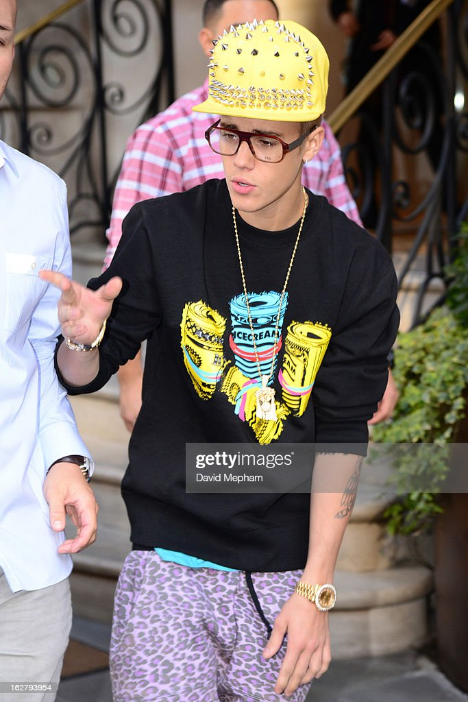 Justin Bieber sighted leaving his central London hotel on February 27, 2013 in London, England.