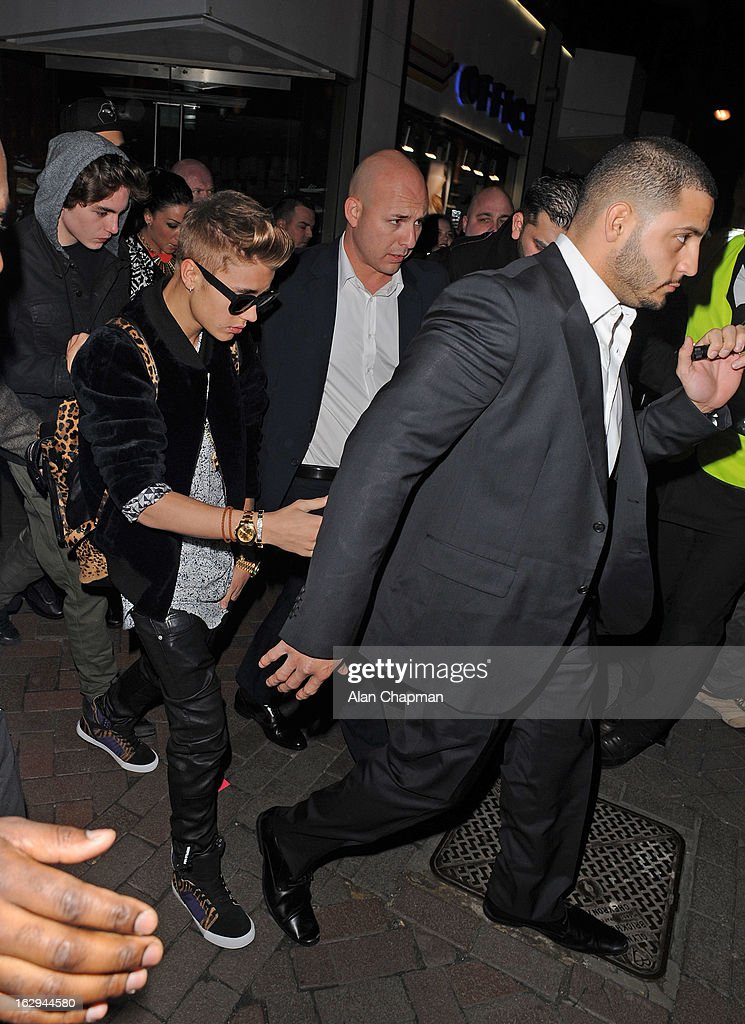 Justin Bieber sighting at Cirque Du Soir on March 1, 2013 in London, England.