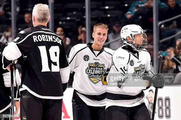 Justin Bieber skates during the 2017 NHL AllStar Celebrity Shootout as part of the 2017 NHL AllStar Weekend at STAPLES Center on January 28 2017 in...