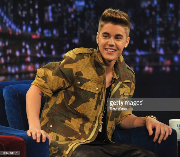 Justin Bieber visits 'Late Night With Jimmy Fallon' at Rockefeller Center on February 5 2013 in New York City