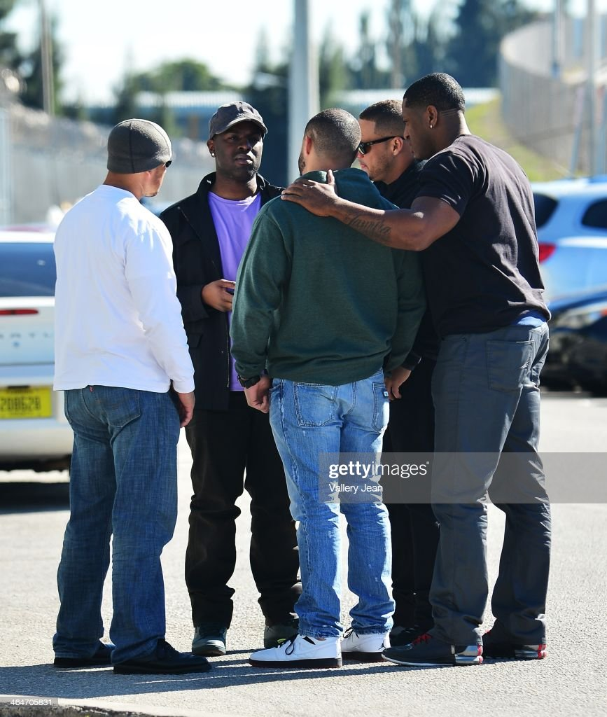 Justin Bieber's team of security seen outside the Turner Guilford Knight Correctional Center following Justin Bieber's arrest for DUI and resisting arrest on January 23, 2014 in Miami Beach, Florida.