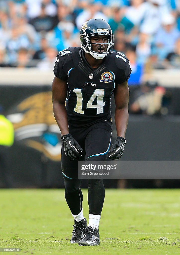 <a gi-track='captionPersonalityLinkClicked' href=/galleries/search?phrase=Justin+Blackmon&family=editorial&specificpeople=6236641 ng-click='$event.stopPropagation()'>Justin Blackmon</a> #14 of the Jacksonville Jaguars prepares to run during the game against the New York Jets at EverBank Field on December 9, 2012 in Jacksonville, Florida.