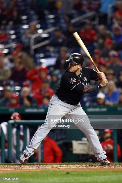 Justin Bour of the Miami Marlins bats during the game against the Washington Nationals at Nationals Park on Thursday April 6 2017 in Washington DC