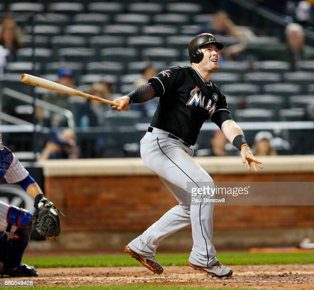 Justin Bour of the Miami Marlins bats in an MLB baseball game against the New York Mets on May 5 2017 at CitiField in the Queens borough of New York...