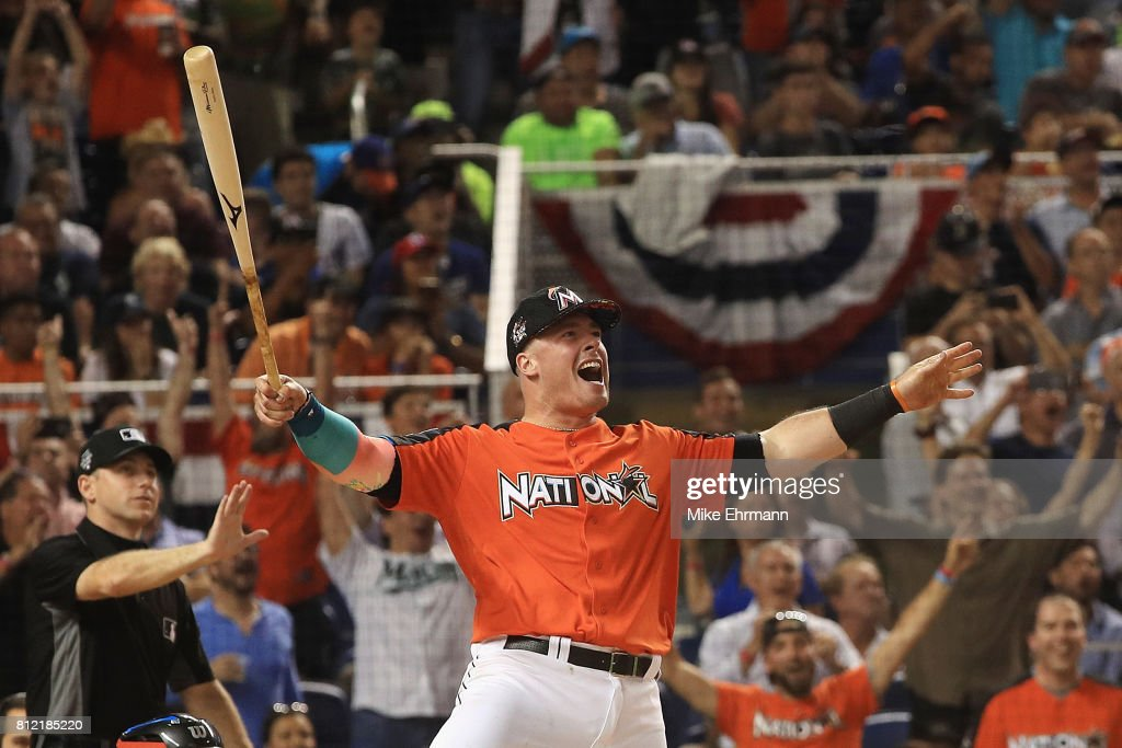 Justin Bour #41 of the Miami Marlins competes in the T-Mobile Home Run Derby at Marlins Park on July 10, 2017 in Miami, Florida.