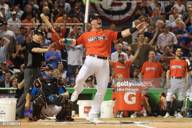 Justin Bour of the Miami Marlins competes in the TMobile Home Run Derby at Marlins Park on July 10 2017 in Miami Florida