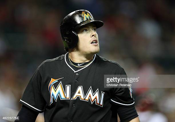 Justin Bour of the Miami Marlins during the MLB game against the Arizona Diamondbacks at Chase Field on July 7 2014 in Phoenix Arizona