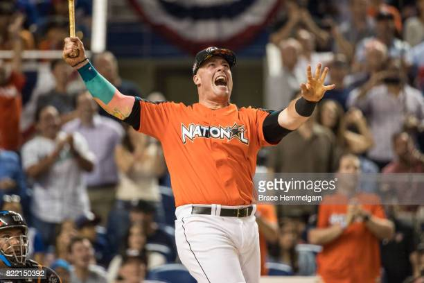 Justin Bour of the Miami Marlins during the TMobile Home Run Derby at Marlins Park on July 10 2017 in Miami Florida