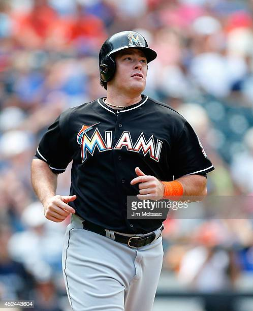 Justin Bour of the Miami Marlins in action against the New York Mets at Citi Field on July 13 2014 in the Flushing neighborhood of the Queens borough...