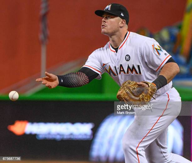 Justin Bour of the Miami Marlins in action during the game between the Miami Marlins and the Pittsburgh Pirates at Marlins Park on April 28 2017 in...