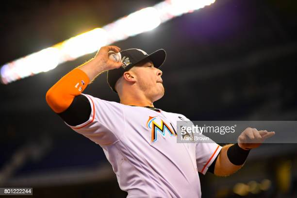 Justin Bour of the Miami Marlins in action during the game between the Miami Marlins and the Chicago Cubs at Marlins Park on June 23 2017 in Miami...