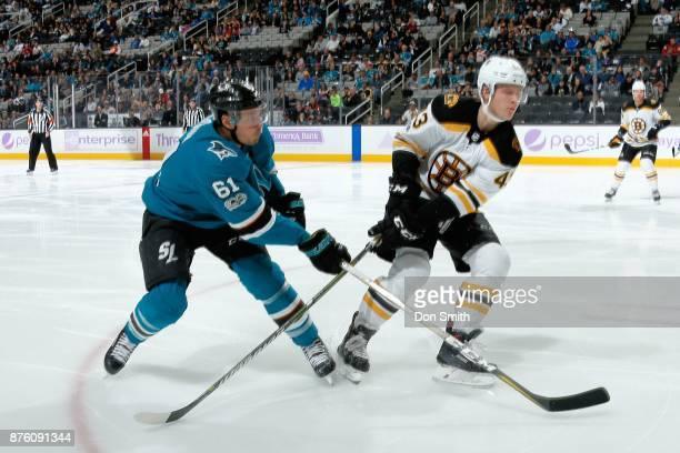 Justin Braun of the San Jose Sharks defends Danton Heinen of the San Jose Sharks at SAP Center on November 18 2017 in San Jose California
