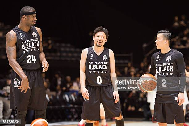 Justin Burrell Yuta Tabuse and Yuki Togashi of the BBlack looks on prior to the B league Allstar Game match between B Black and B White as part of...