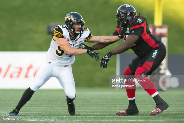 Justin Capicciotti of the Hamilton TigerCats in Canadian Football League Action at TD Place Stadium in Ottawa Canada on Saturday September 9 2017 The...