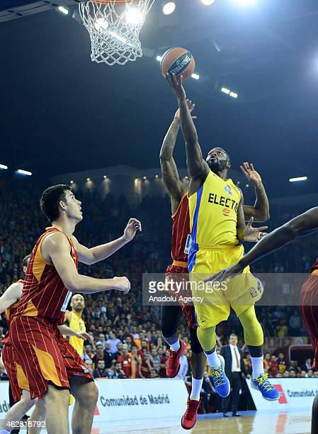 Justin Carter of Galatasaray in action against Jeremy Pargo of Maccabi Electra during the Turkish Airlines Euroleague Basketball Top 16 Round 6 game...