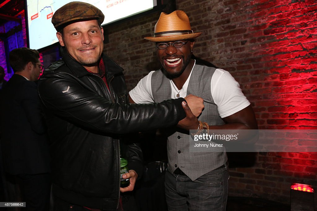 Justin Chambers and Taye Diggs attend the Ford and Hard Rock Hotels Casinos event 'The Mustang Roadhouse' on Monday October 20 2014 in New York City...