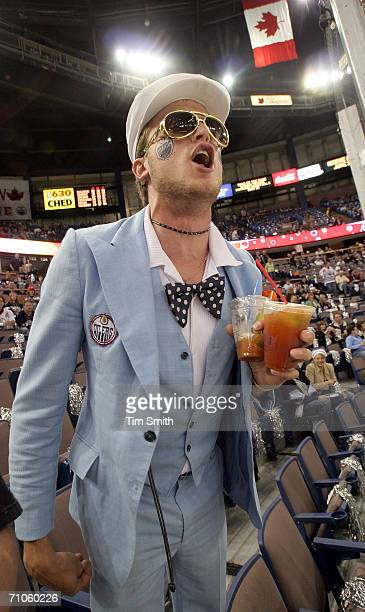 Justin Cider a fan of the Edmonton Oilers taunts the Mighty Ducks of Anaheim prior to the 2006 NHL Playoff game four of the Western Conference Finals...