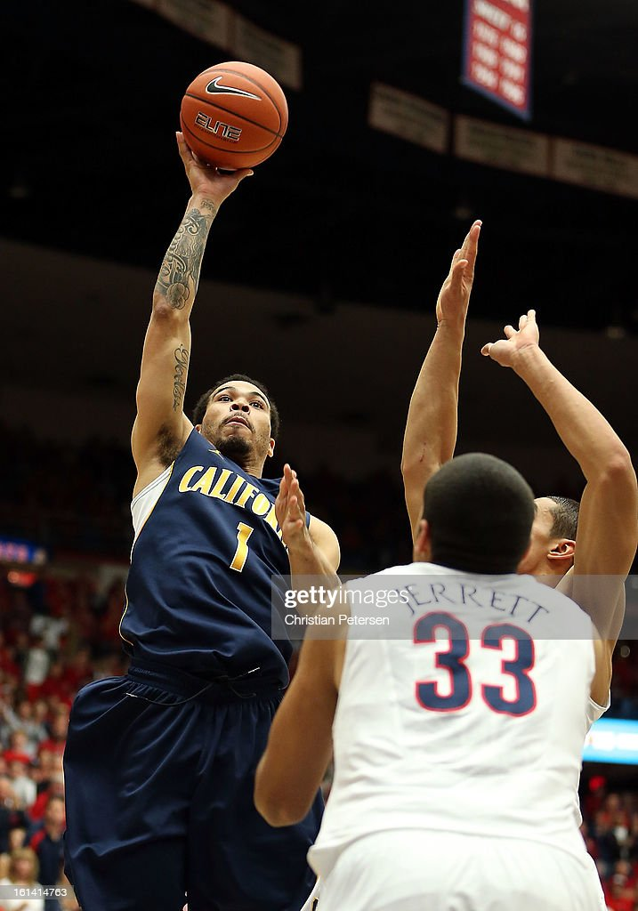 Justin Cobbs #1 of the California Golden Bears puts up a shot against the Arizona Wildcats during the college basketball game at McKale Center on February 10, 2013 in Tucson, Arizona. The Golden Bears defeated the Wildcats 77-69.