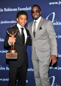 Justin Combs and ROBIE Achievement in Industry Award recipient Sean 'Diddy' Combs attend the 2011 Jackie Robinson Foundation Awards Gala atThe...