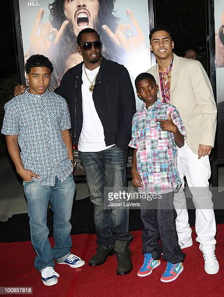 Justin Combs Sean 'Diddy' Combs Christian Combs and Quincy Jones Brown attend the premiere of 'Get Him To The Greek' at The Greek Theatre on May 25...