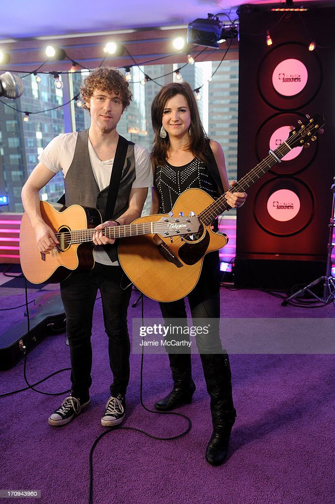 Justin Davis and Sarah Zimmerman of Striking Matches attend the MTV, VH1, CMT & LOGO 2013 O Music Awards on June 20, 2013 in New York City.