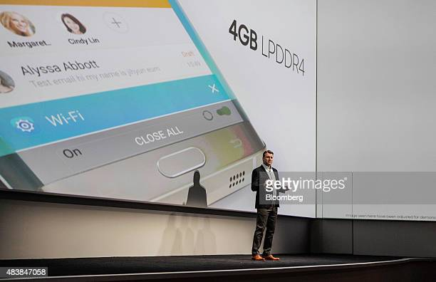 Justin Denison chief strategy officer of Samsung Telecommunications America speaks during the Samsung Electronics Co Unpacked 2015 event in New York...