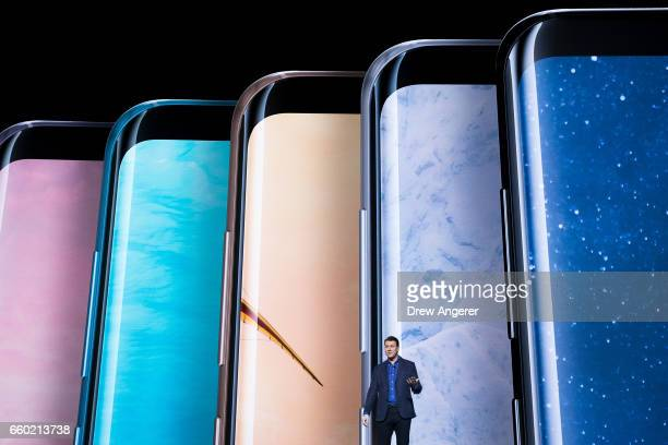 Justin Denison senior vice president of product strategy at Samsung speaks about the new features on the Samsung Galaxy S8 during a launch event for...