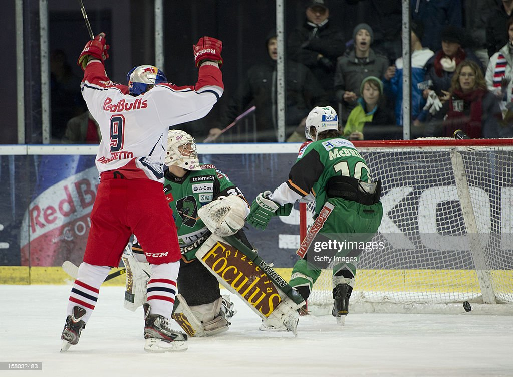 Justin di Benedetto of Salzburg celebrates after a goal during the Erste Bank Eishockey Liga match between EC Red Bull Salzburg and HDD TELEMACH Olimpija Ljubljana at Eisarena Salzburg on December 9, 2012 in Salzburg, Austria.