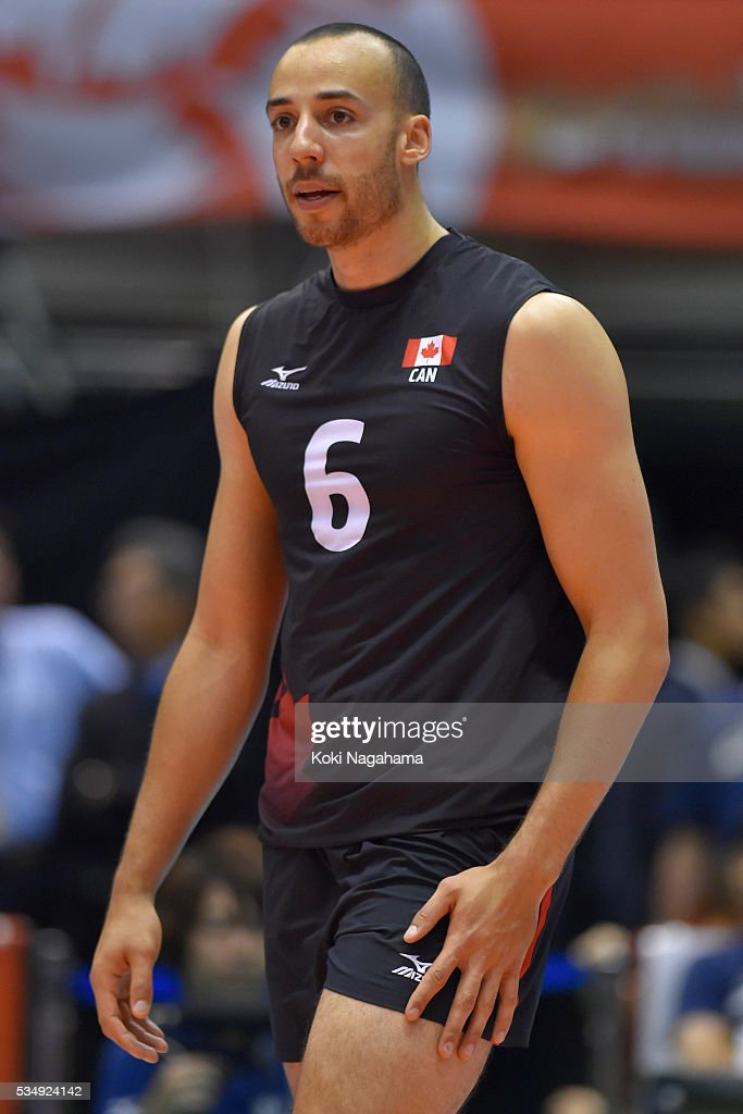 Justin Duff #6 of Canada looks on during the Men's World Olympic Qualification game between Poland and Canada at Tokyo Metropolitan Gymnasium on May 28, 2016 in Tokyo, Japan.