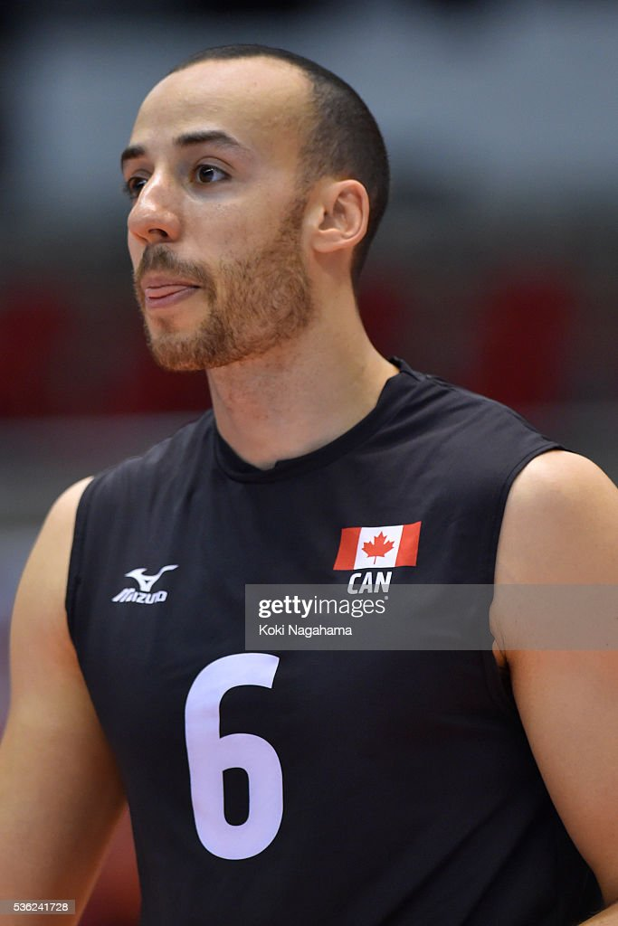 Justin Duff #6 of Canada looks on during the Men's World Olympic Qualification game between Venezuela and Canada at Tokyo Metropolitan Gymnasium on June 1, 2016 in Tokyo, Japan.