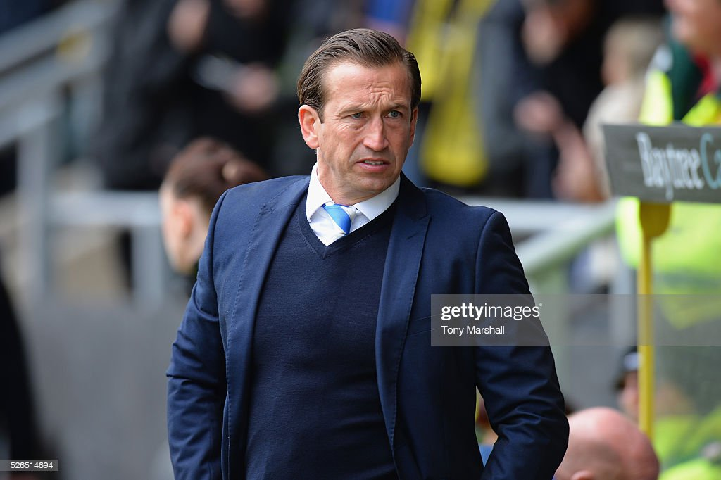 Justin Edinburgh, Manager of Gillingham during the Sky Bet League One match between Burton Albion and Gillingham at Pirelli Stadium on April 30, 2016 in Burton-upon-Trent, England.