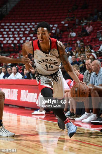 Justin Edwards of the Toronto Raptors handles the ball against the Cleveland Cavaliers on July 14 2017 at the Thomas Mack Center in Las Vegas Nevada...
