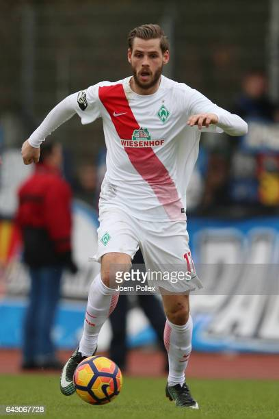 Justin Eilers of Bremen controls the ball during the 3 Liga match between Werder Bremen II and SC Paderborn at Weserstadionon February 18 2017 in...
