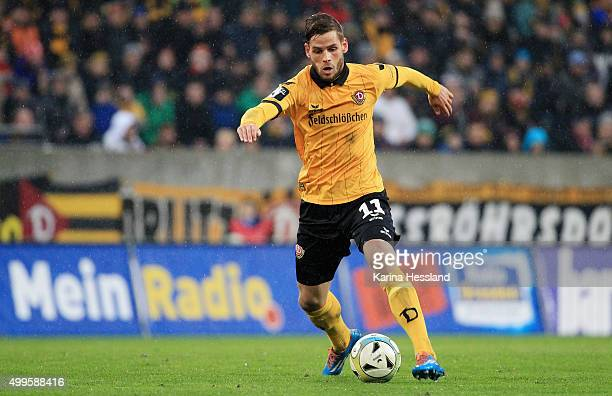 Justin Eilers of Dresden during the Third League match between SG Dynamo Dresden and Preussen Muenster at gluecksgas Arena on November 28 2015 in...