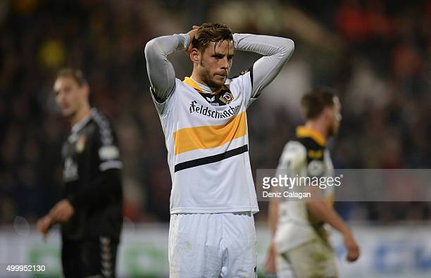 Justin Eilers of Dresden reacts during the dritte LIga match between SG Sonnenhof Grossaspach vs Dynamo Dresden on December 4 2015 at Mechatronik...
