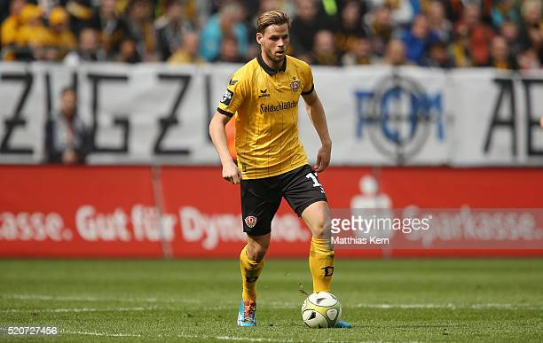 Justin Eilers of Dresden runs with the ball during the third league match between SG Dynamo Dresden and Holstein Kiel at DDVStadion on April 9 2016...
