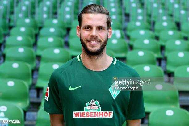 Justin Eilers of Werder Bremen poses during the team Justin Eilerspresentation at Weser Stadium on July 19 2017 in Bremen Germany