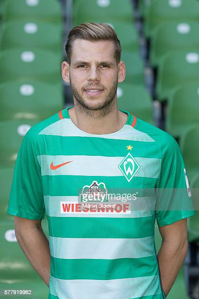 Justin Eilers poses during the offical team presentation of Werder Bremen on July 20 2016 in Bremen Germany