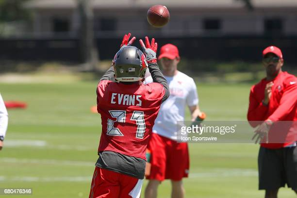 Justin Evans attempts to make a catch during the Buccaneers Rookie Camp on May 06 2017 at One Buccaneer Place in Tampa Florida