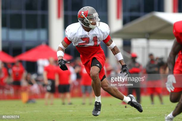 Justin Evans back pedals as he drops back into coverage during the Tampa Bay Buccaneers Training Camp on July 30 2017 at One Buccaneer Place in Tampa...